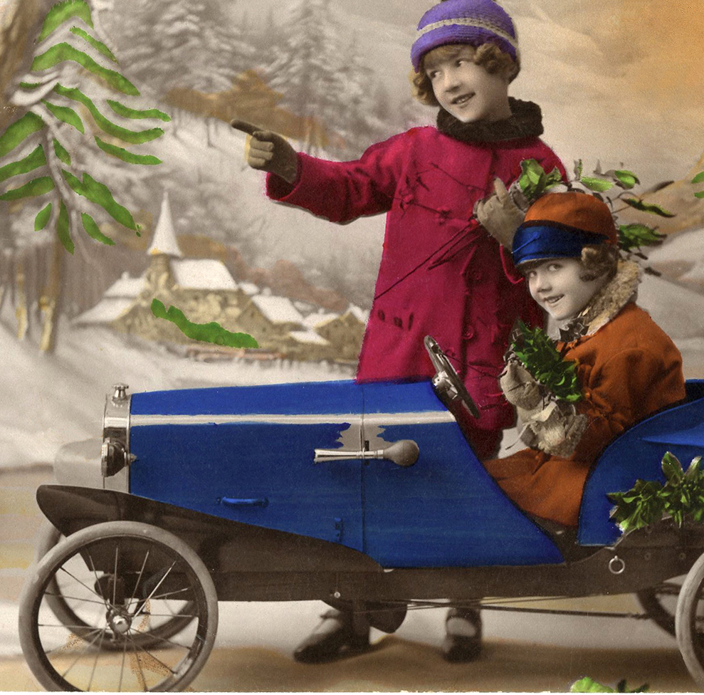 Old Christmas Photo Card Pedal Car The Graphics Fairy