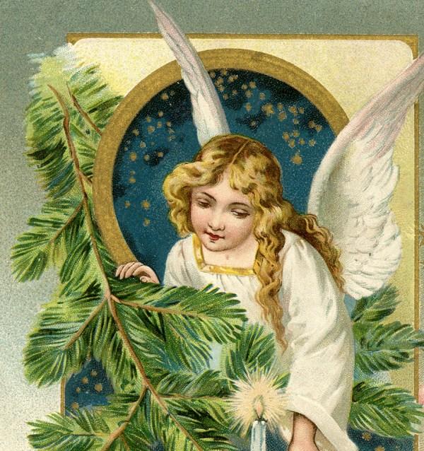Vintage Angel Postcard - Christmas Graphics Fairy
