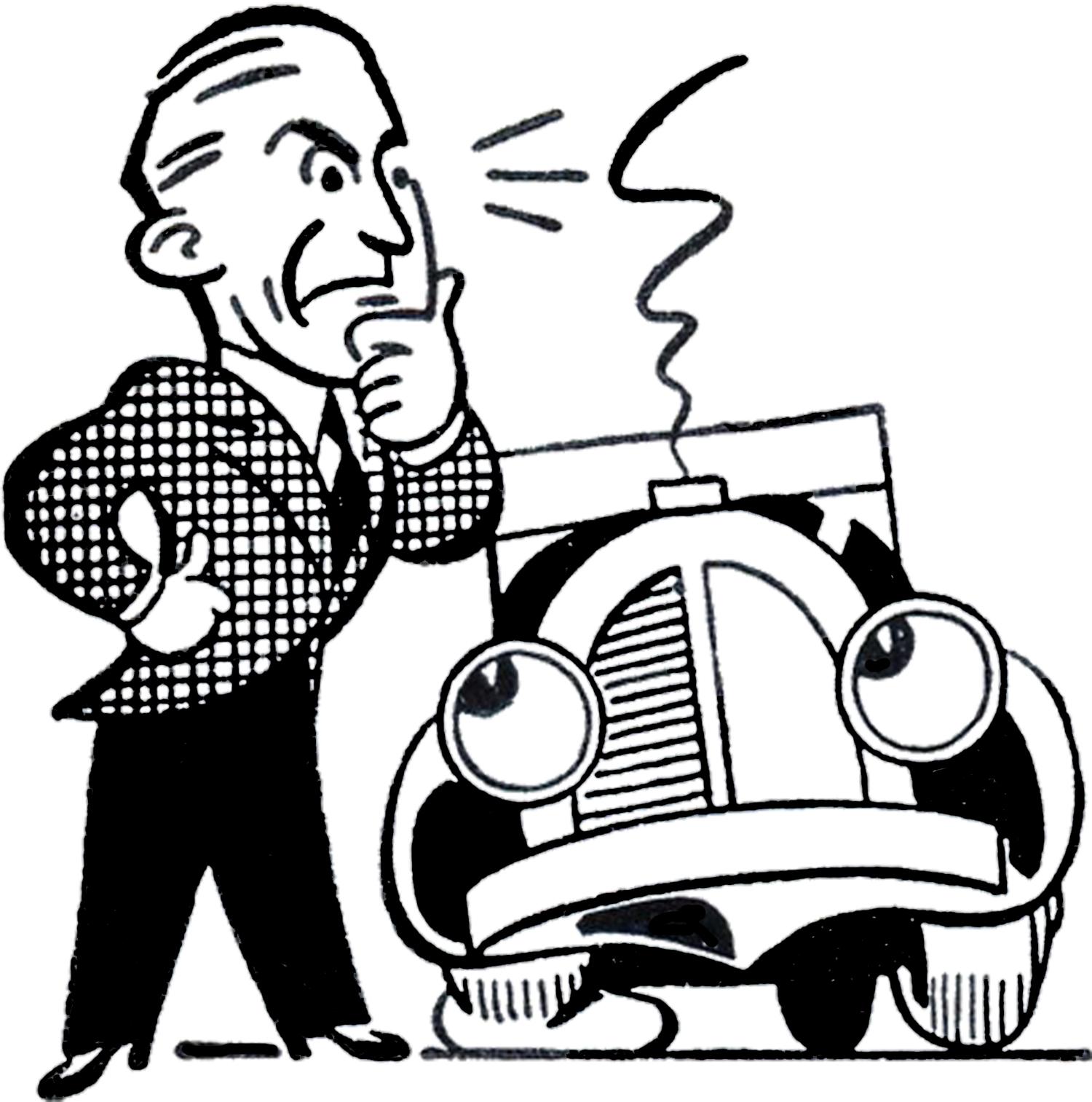 Retro Car Trouble Clip Art