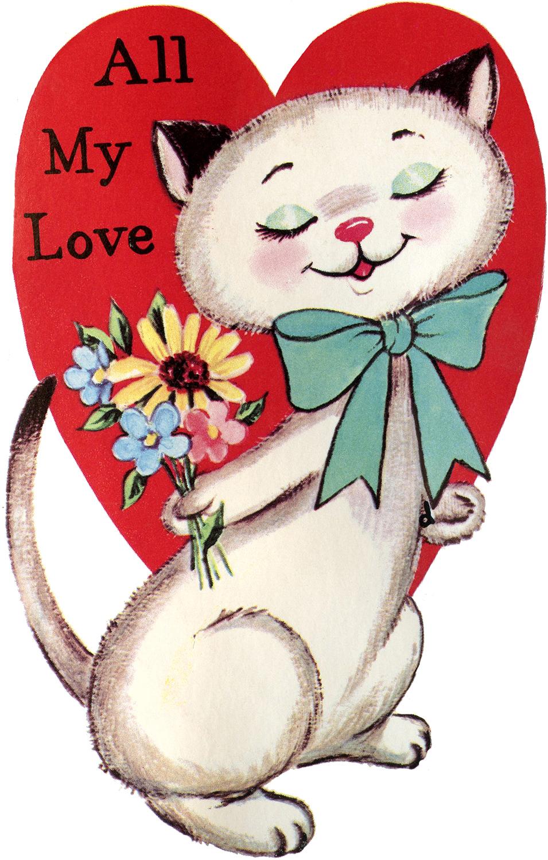Vintage Cat Valentine Image The Graphics Fairy