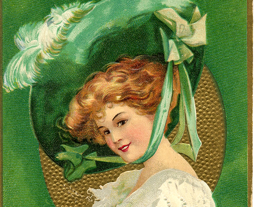 St Patricks Day Picture Lady With Large Hat The