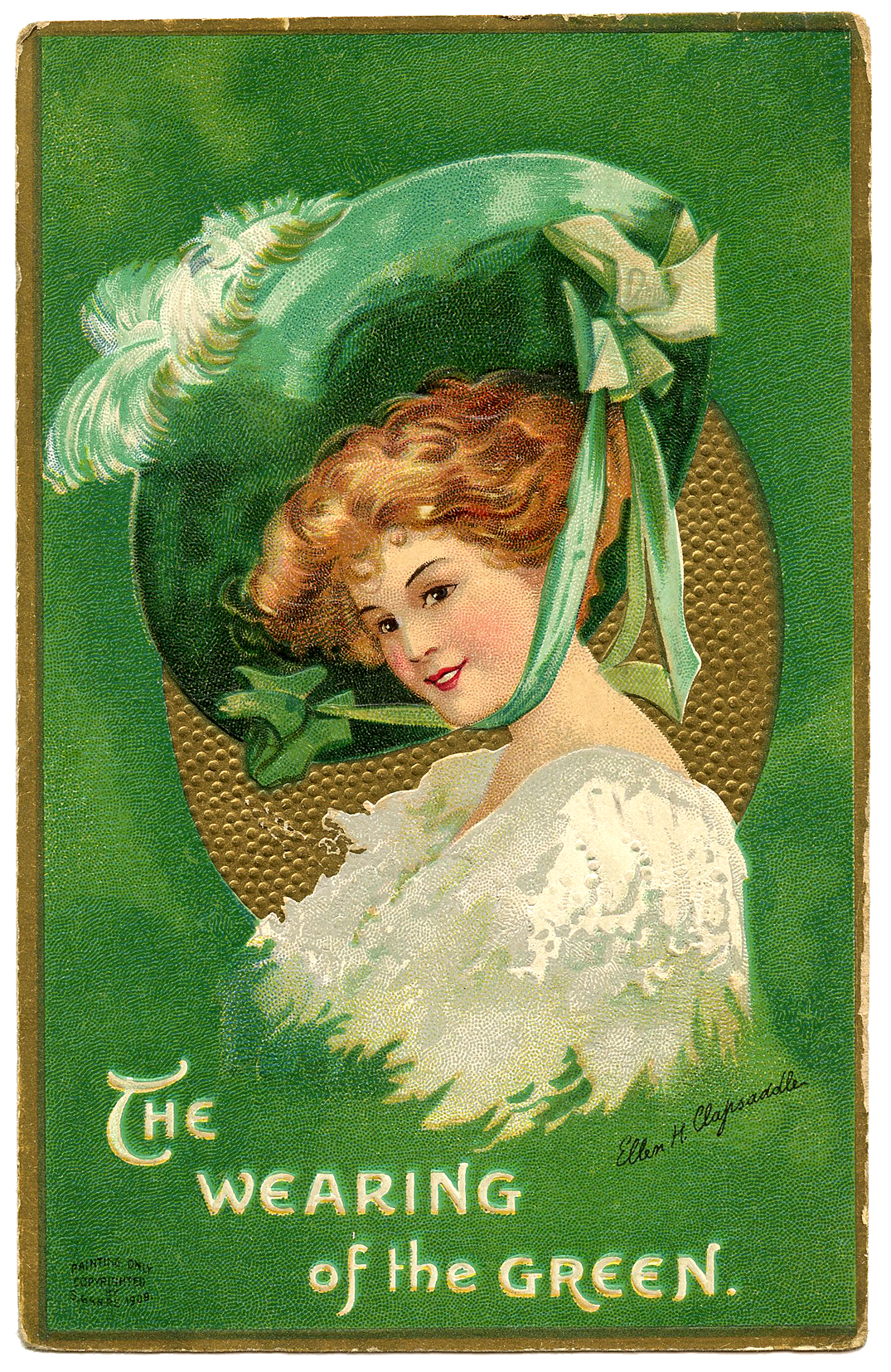 St Patrick's Day Picture Lady With Large Hat The