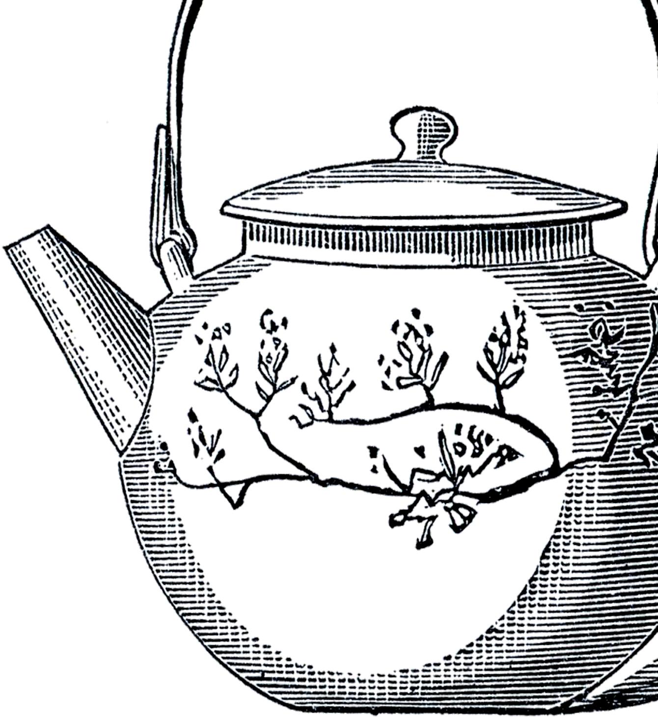 Vintage Asian Teapot Image The Graphics Fairy