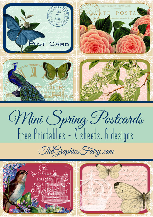 Spring Themed Mini Postcards The Graphics Fairy