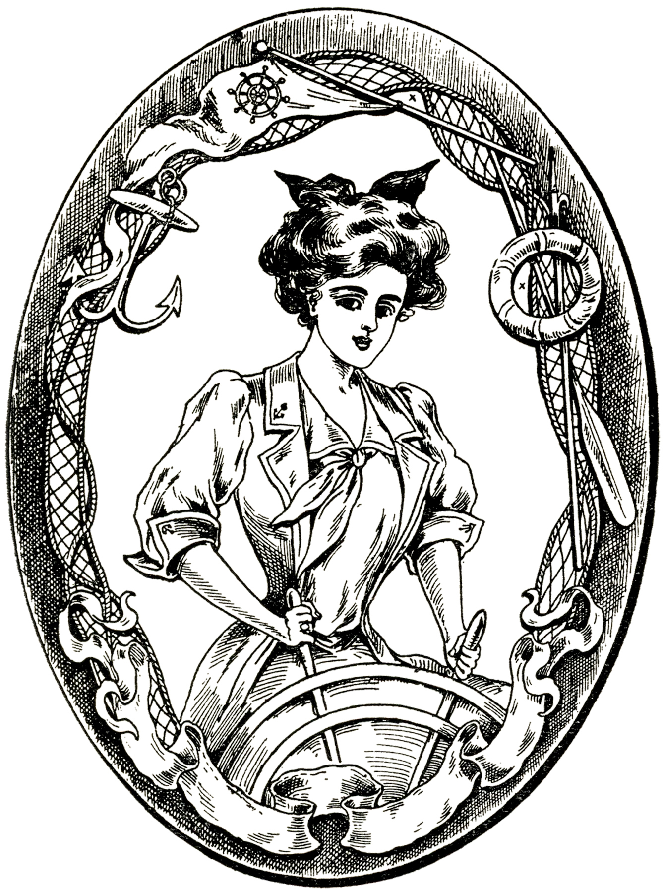 Vintage Sailor Lady Image