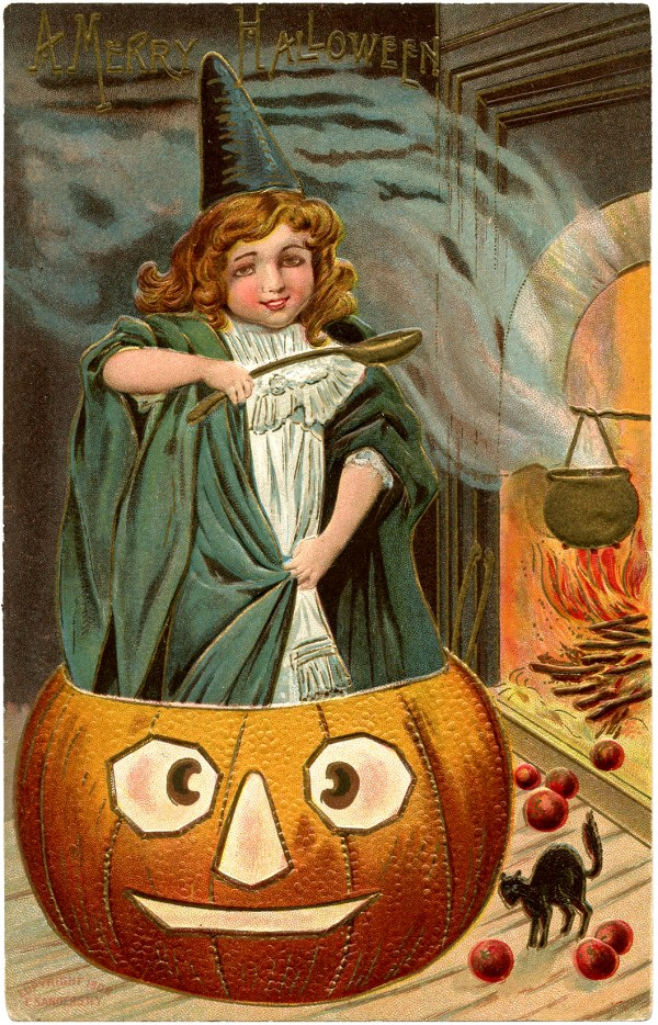 Vintage Halloween - Cute Witch With Pumpkin