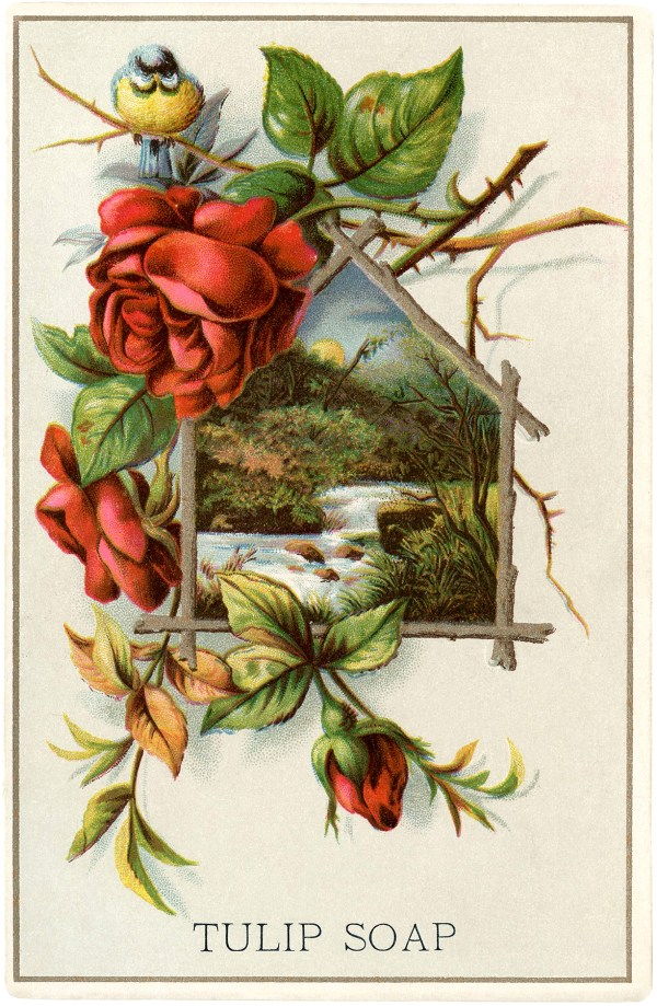 Lovely Vintage Landscape With Roses - Graphics Fairy