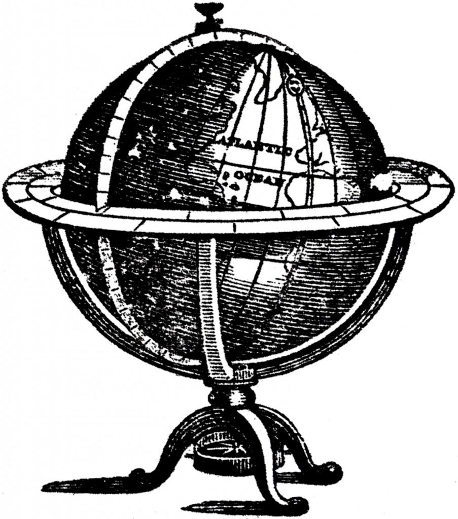 Stand White Black And Globe Art Clip