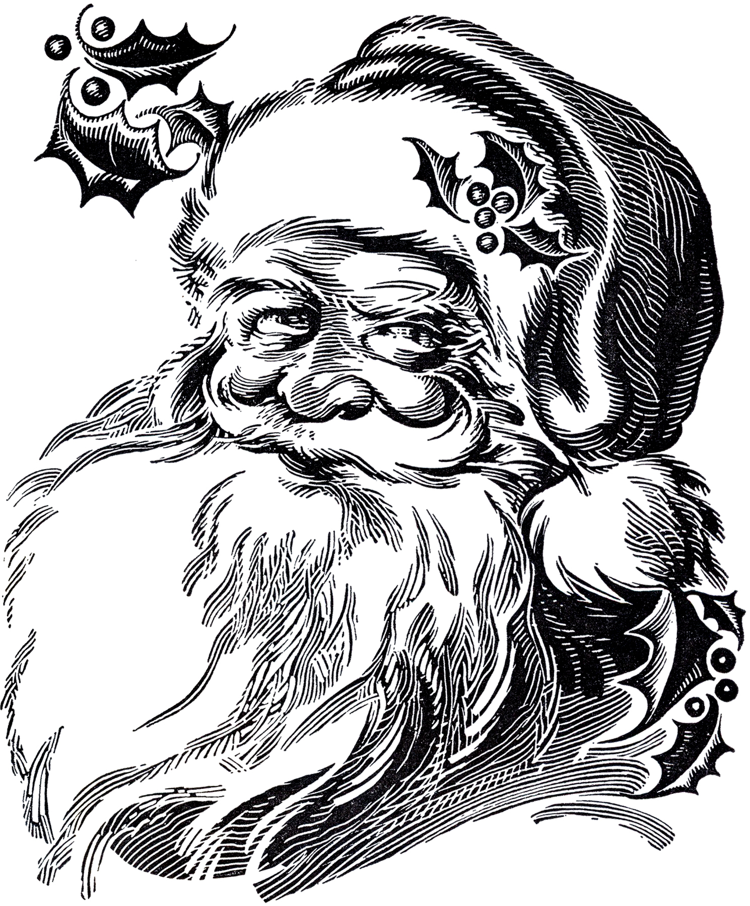 Beautiful Santa Drawing