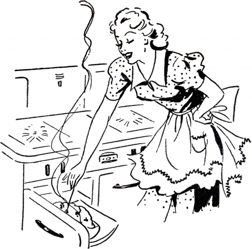 Adorable Retro Cooking Mom Image