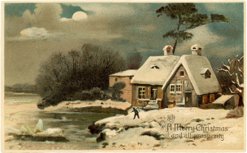 Pretty Vintage Christmas Cottage Image The Graphics Fairy