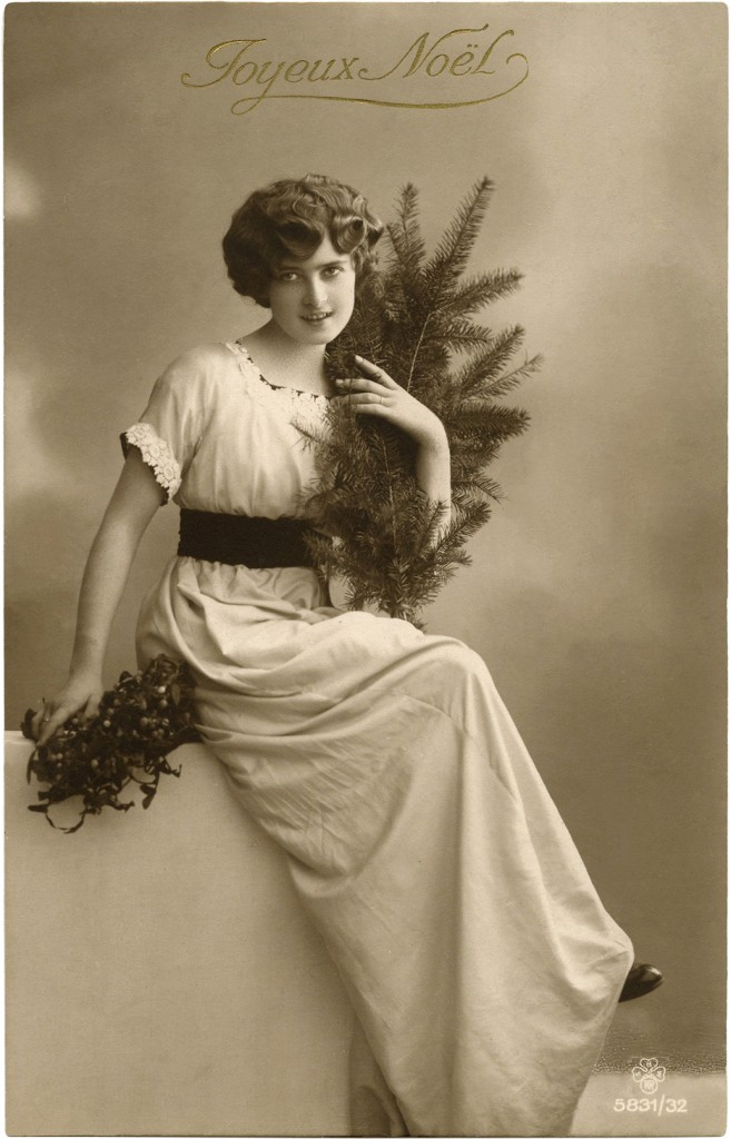 Vintage Christmas Lady Photo  The Graphics Fairy