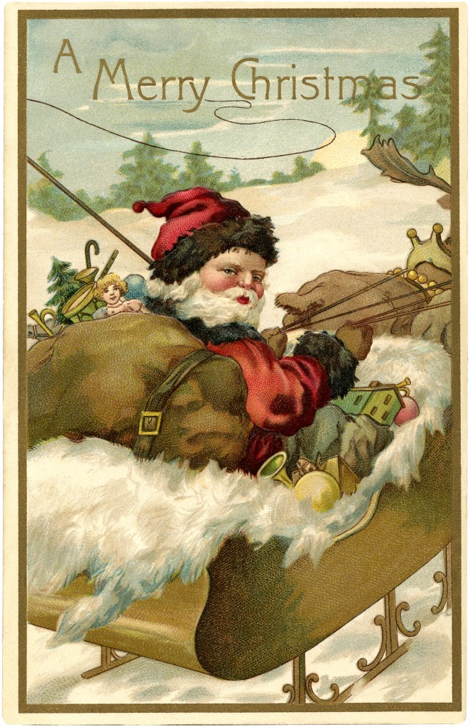 Fantastic Vintage Santa With Sleigh Image! The Graphics