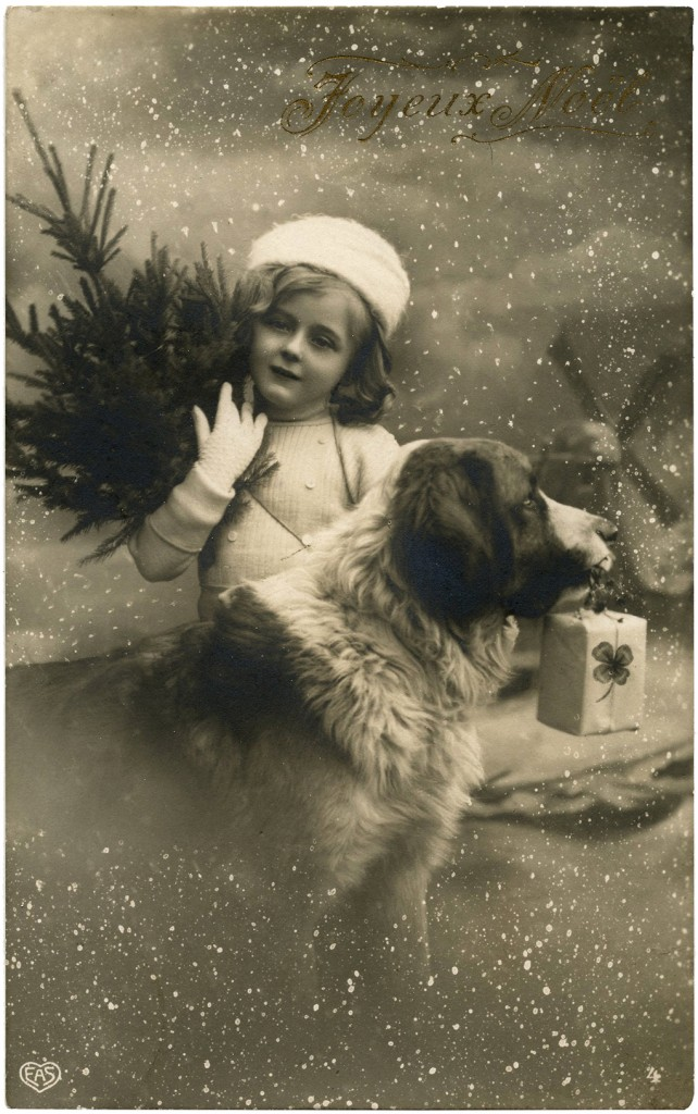 Vintage Christmas Girl With Dog Photo! The Graphics Fairy