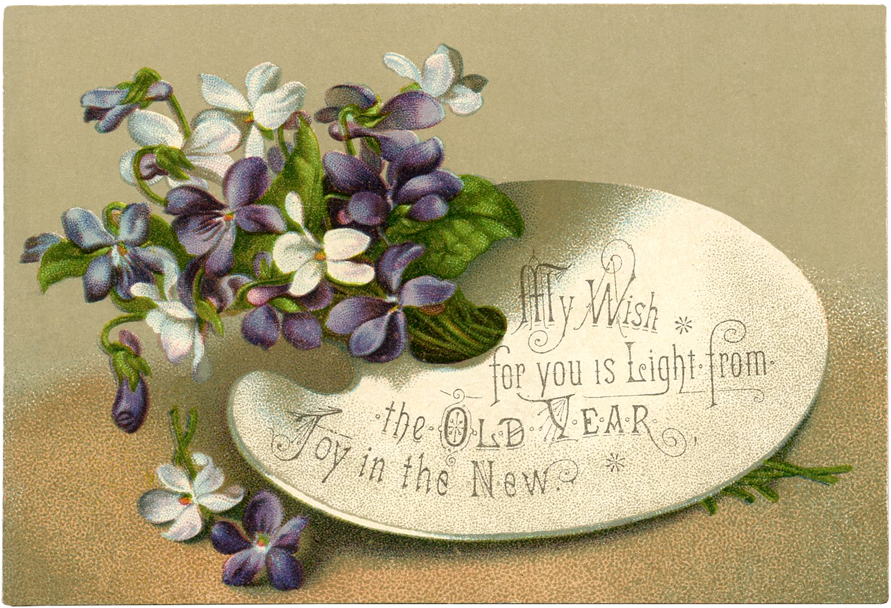 Beautiful Floral New Year Card The Graphics Fairy