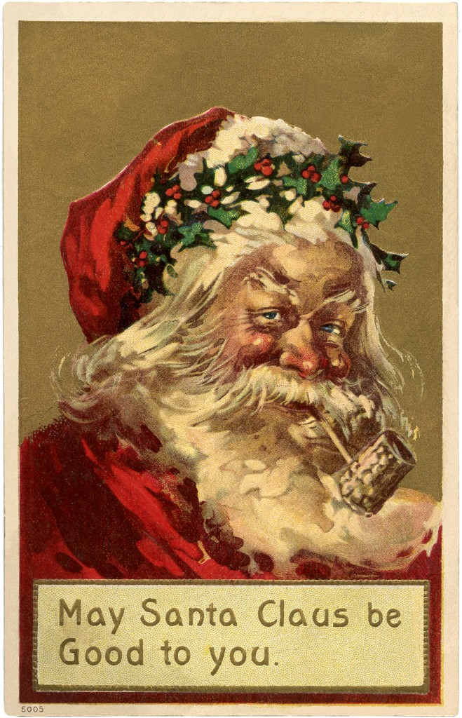 Old World Santa Holly Crown The Graphics Fairy