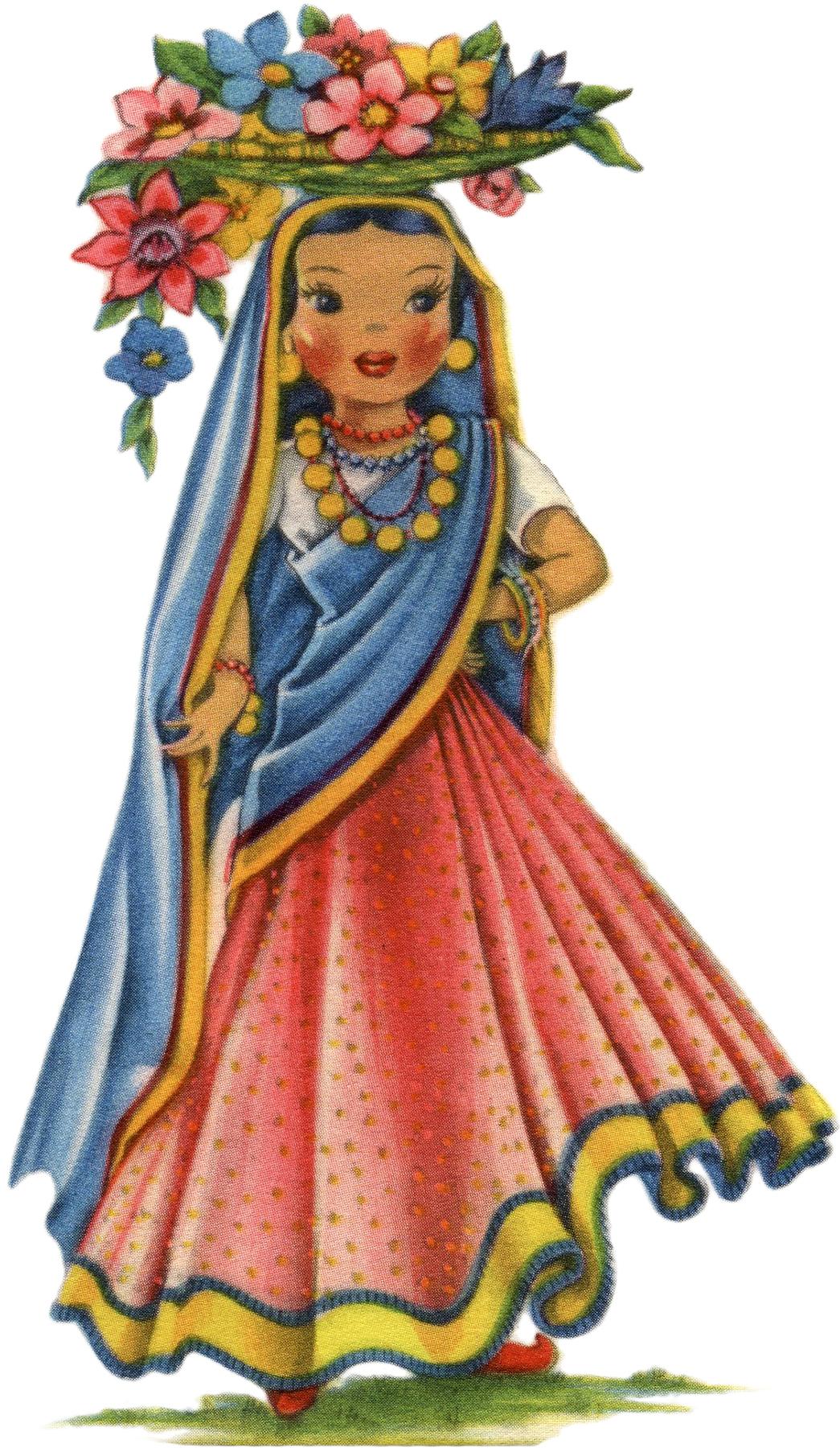 Retro India Doll Image The Graphics Fairy
