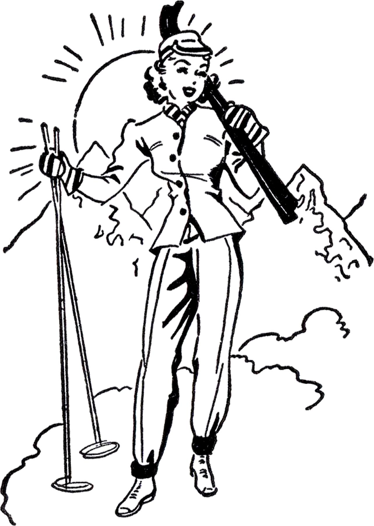 Retro Ski Lady Image