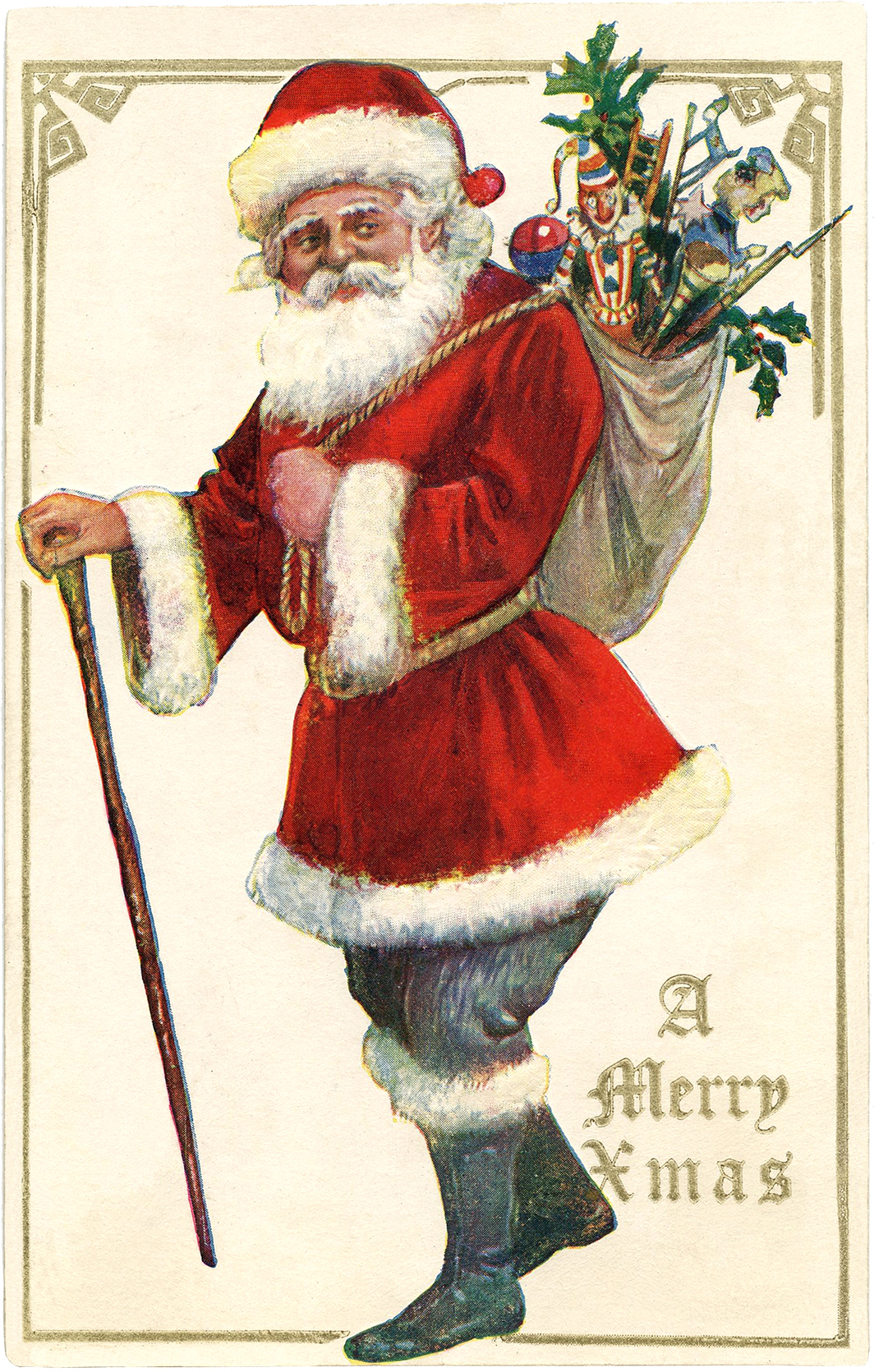 Antique Santa With Cane Image