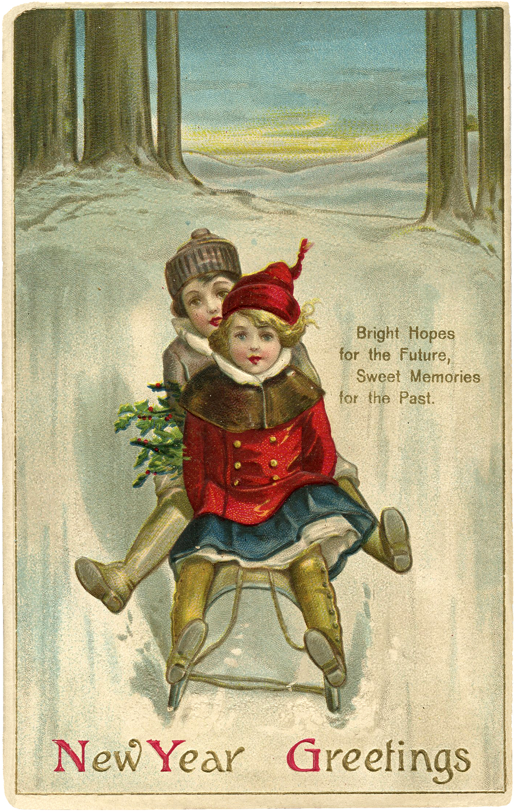 Vintage New Year Sled Image Cute! The Graphics Fairy