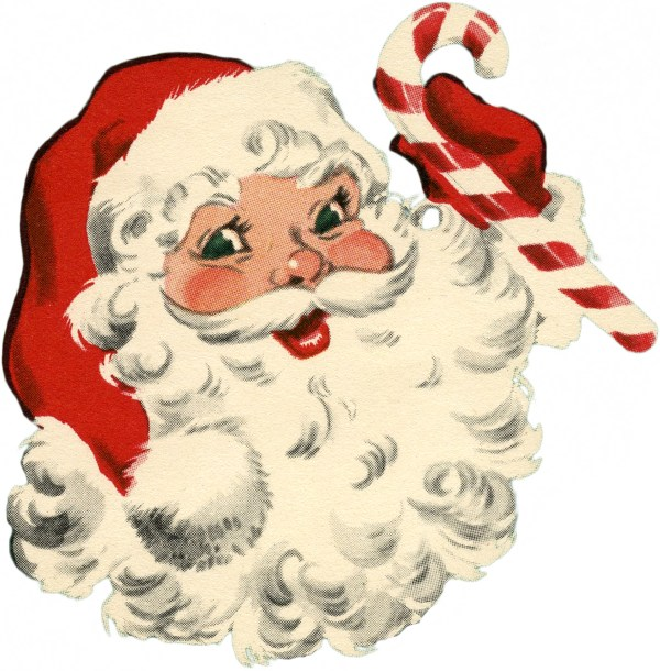 vintage santa with candy cane