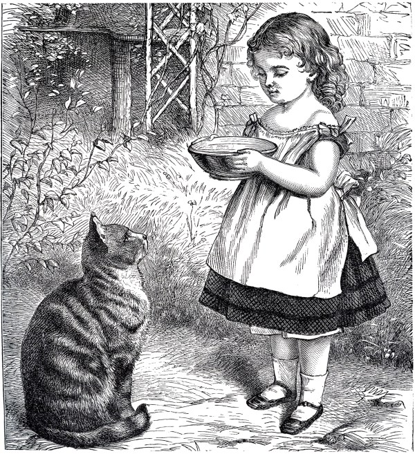 Public Domain Girl With Cat - Sweet