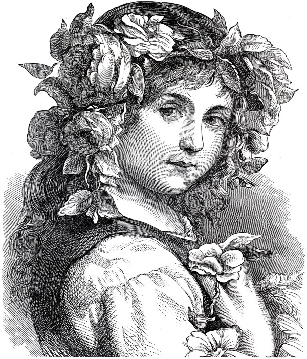 Gorgeous Antique Flower Girl Engraving - Graphics Fairy