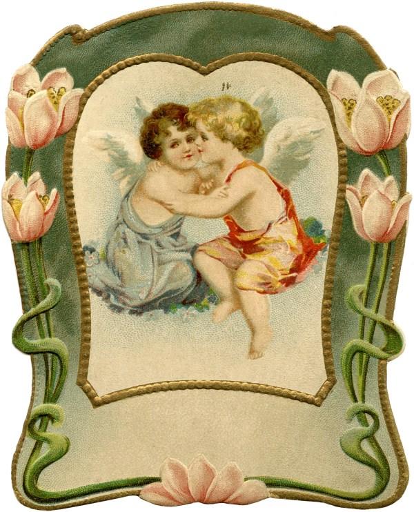 Vintage Water Lily Valentine - Art Nouveau Graphics Fairy