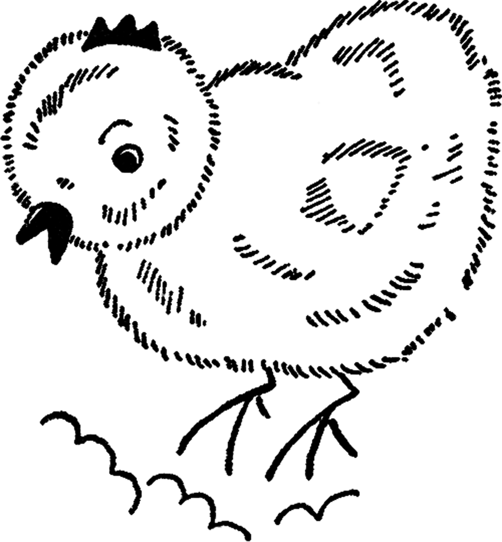 Easter Chick Line Drawing
