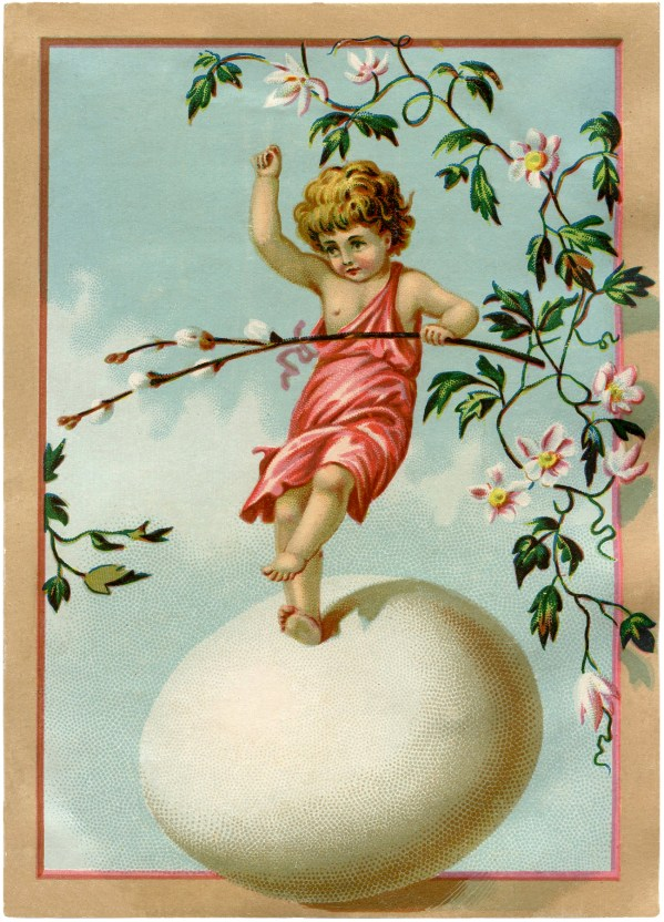 Easter Egg Vintage Fairy Illustrations