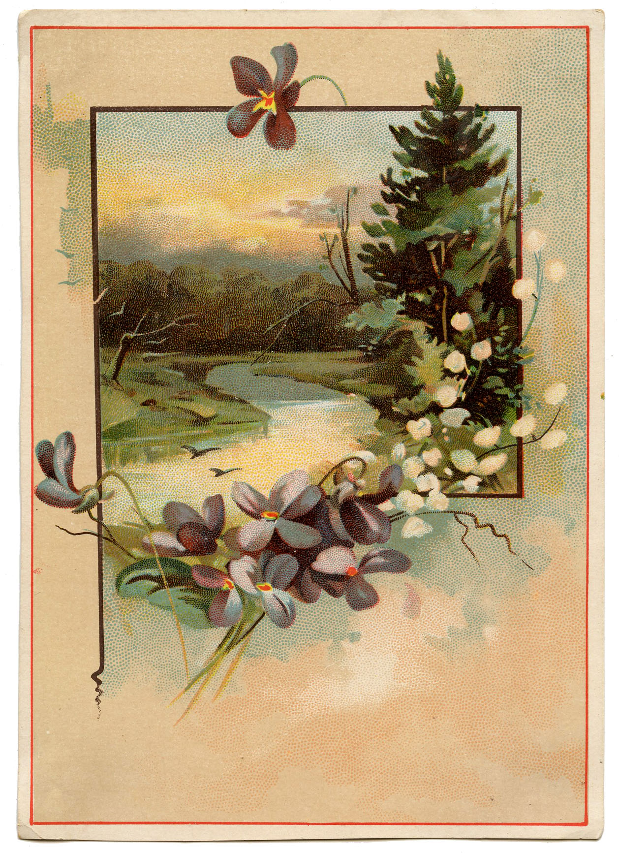 Vintage Violets Landscape  The Graphics Fairy