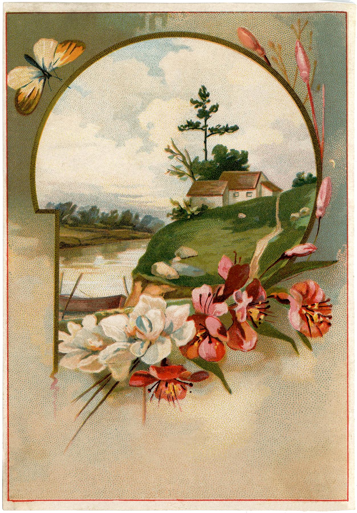 Pretty Floral Landscape Image The Graphics Fairy