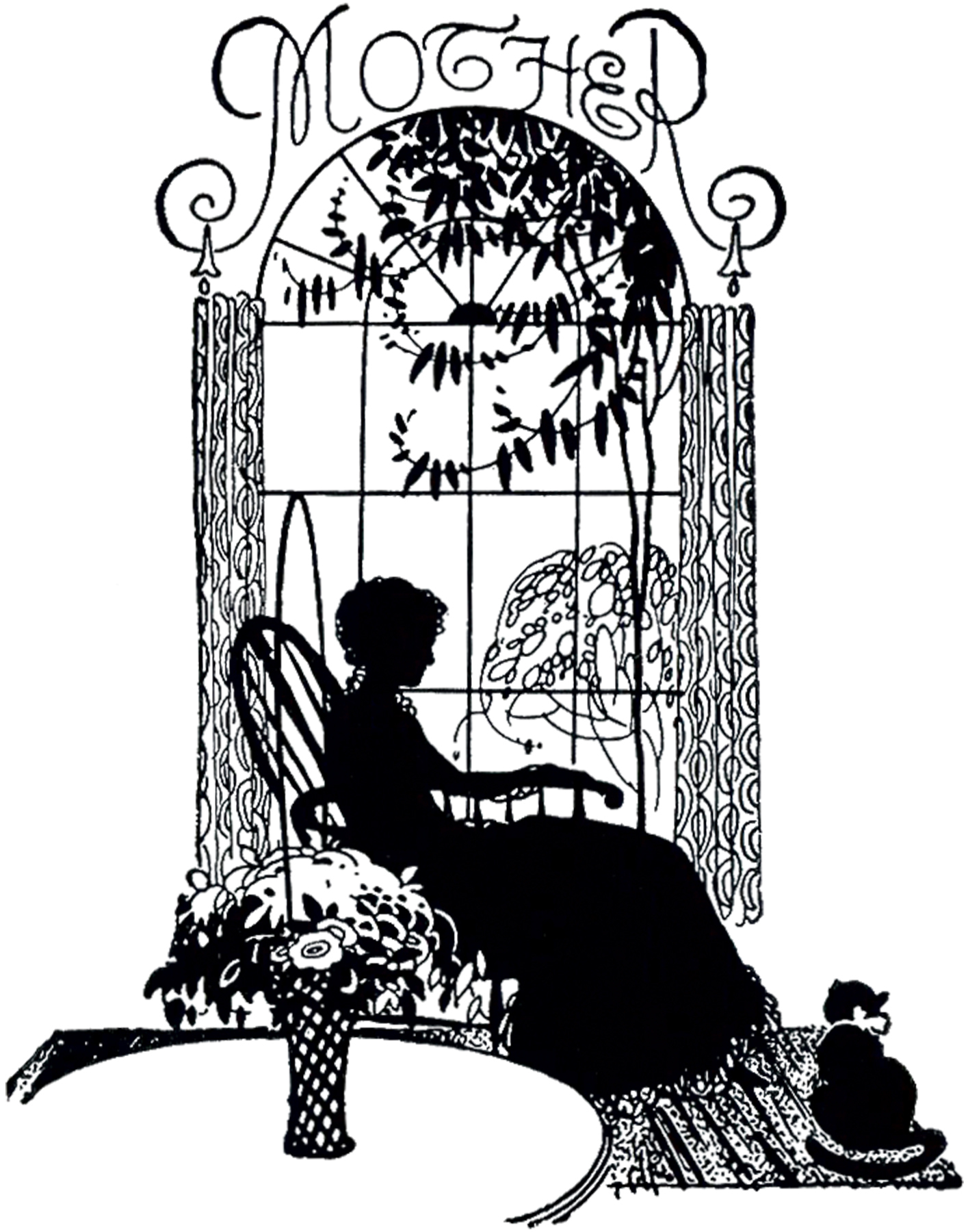 black rocking chair linen club mother's day silhouette image! - the graphics fairy