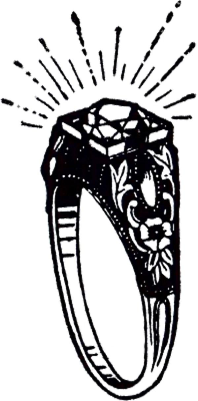 vintage diamond ring clip art