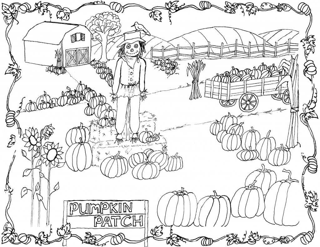 Pumpkin Patch Coloring Page Printable