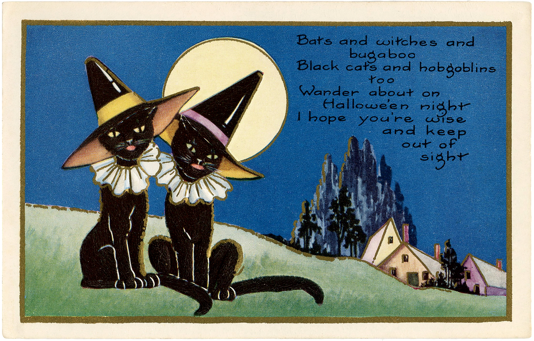 Vintage Halloween Witch Cats! The Graphics Fairy