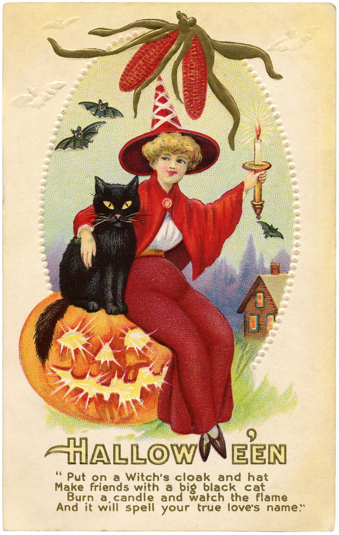 Vintage Red Witch Image Halloween The Graphics Fairy