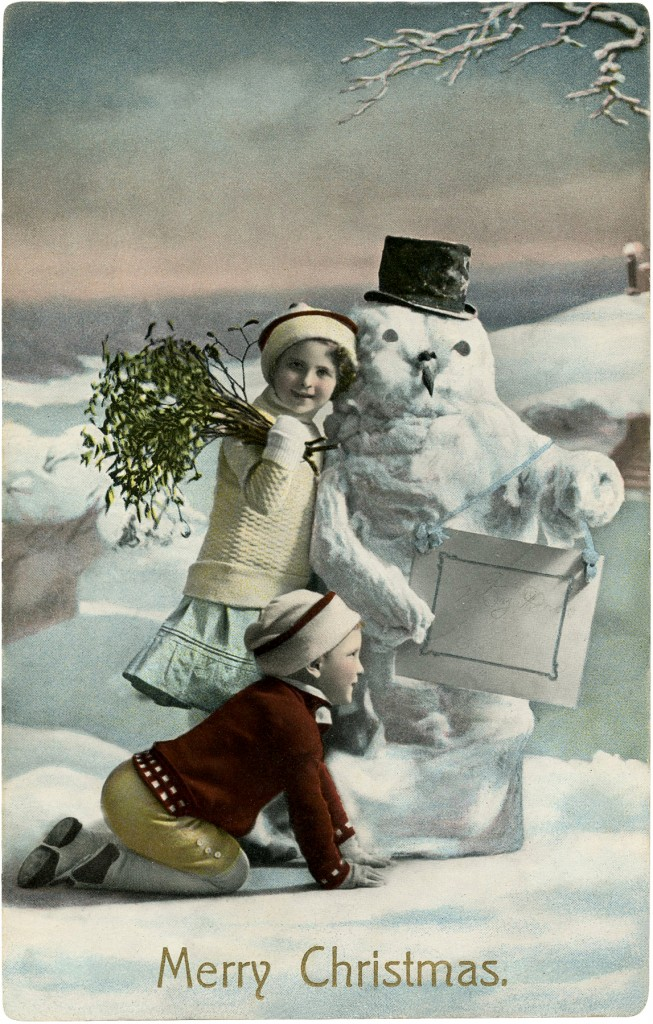 Vintage Christmas Snowman Photo The Graphics Fairy