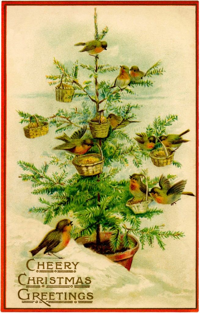 Fruit Wallpaper Cute Vintage Birds Christmas Tree Image Charming The