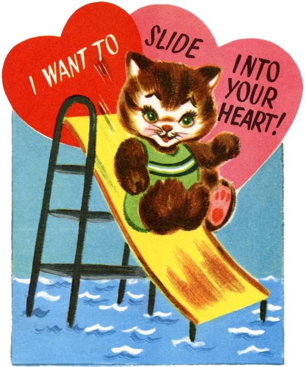 Retro Cat Valentine - Graphics Fairy