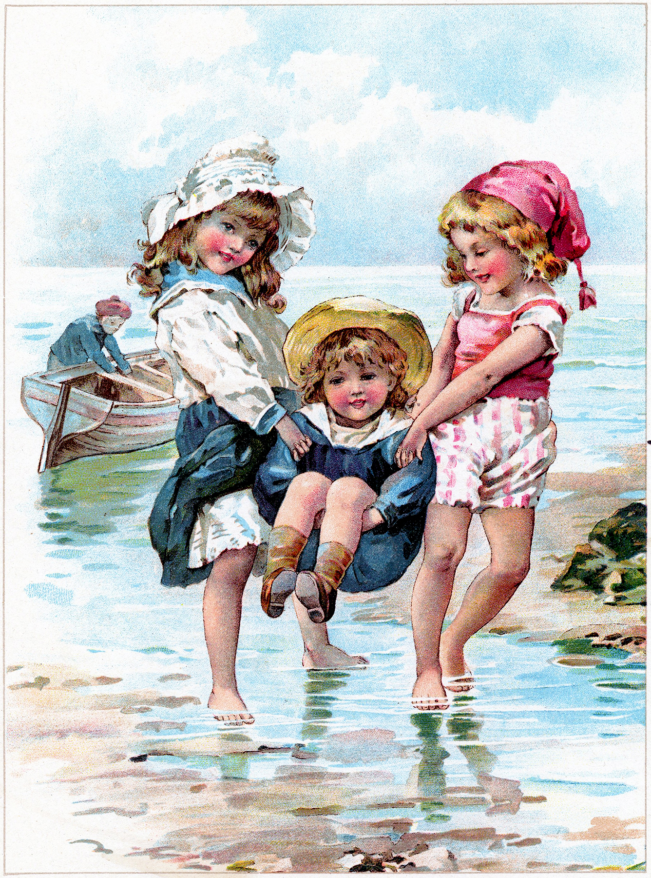 Sweet Children Playing In Ocean Image The Graphics Fairy