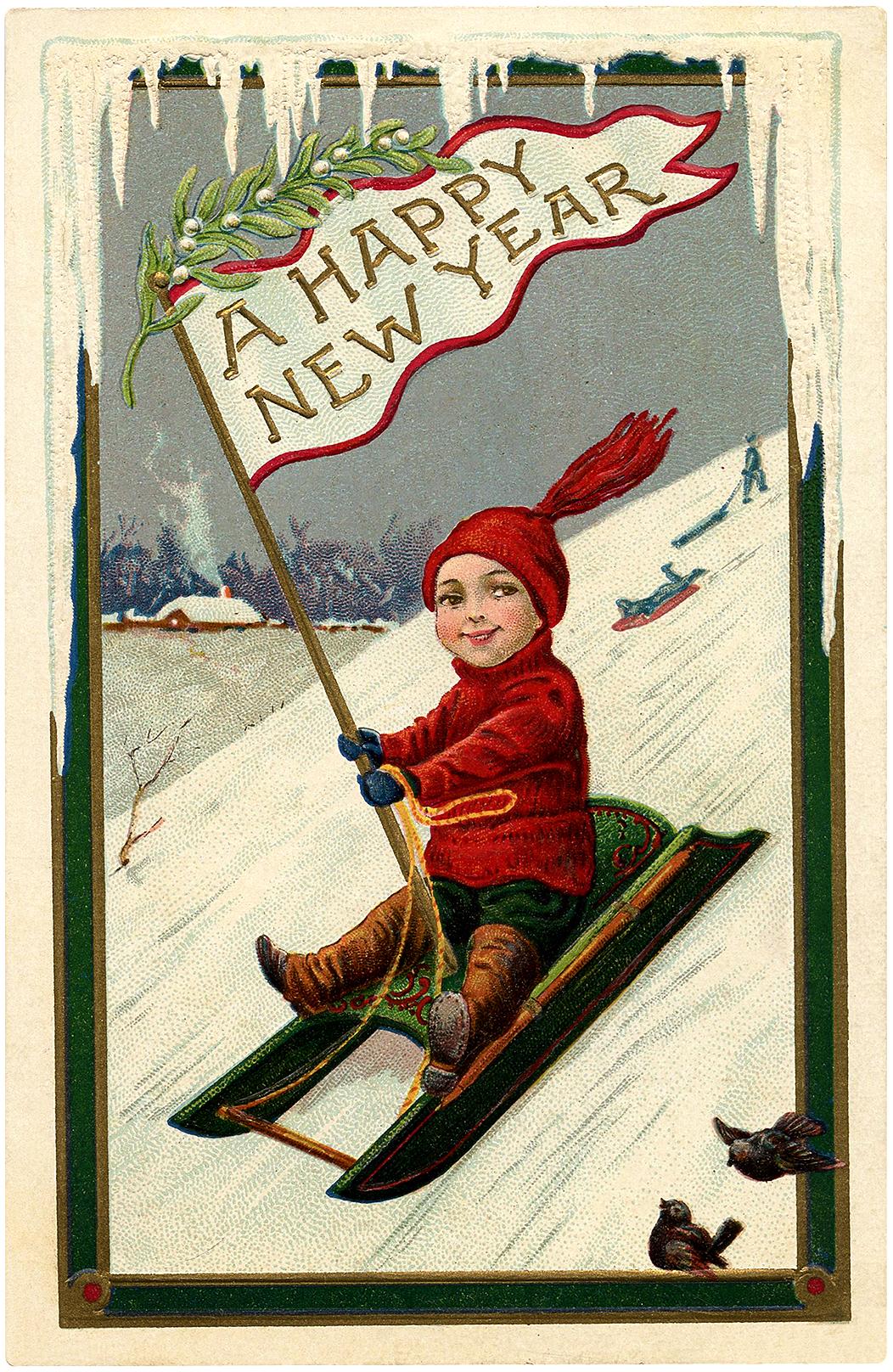 Cute Vintage New Year Sled Boy Image