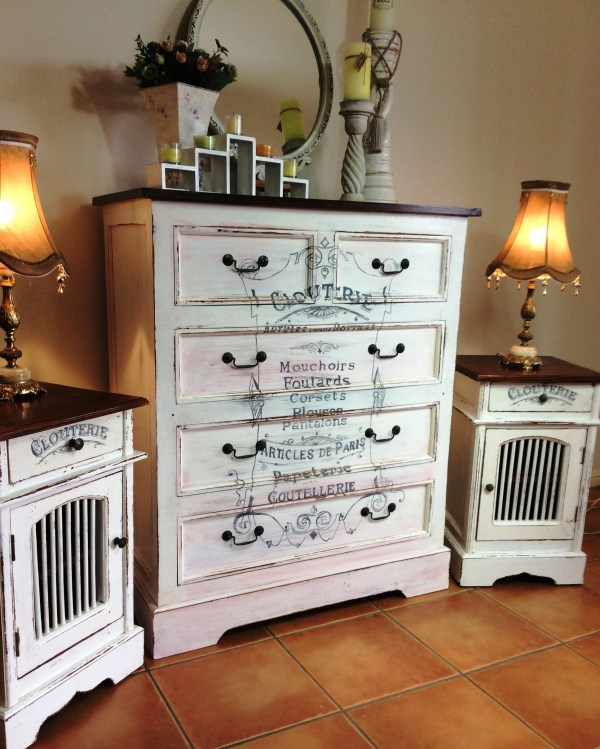Shabby Chic Dresser And Matching Bedside Table Set