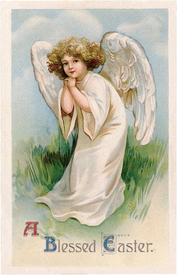 Vintage Easter Angel Clip Art