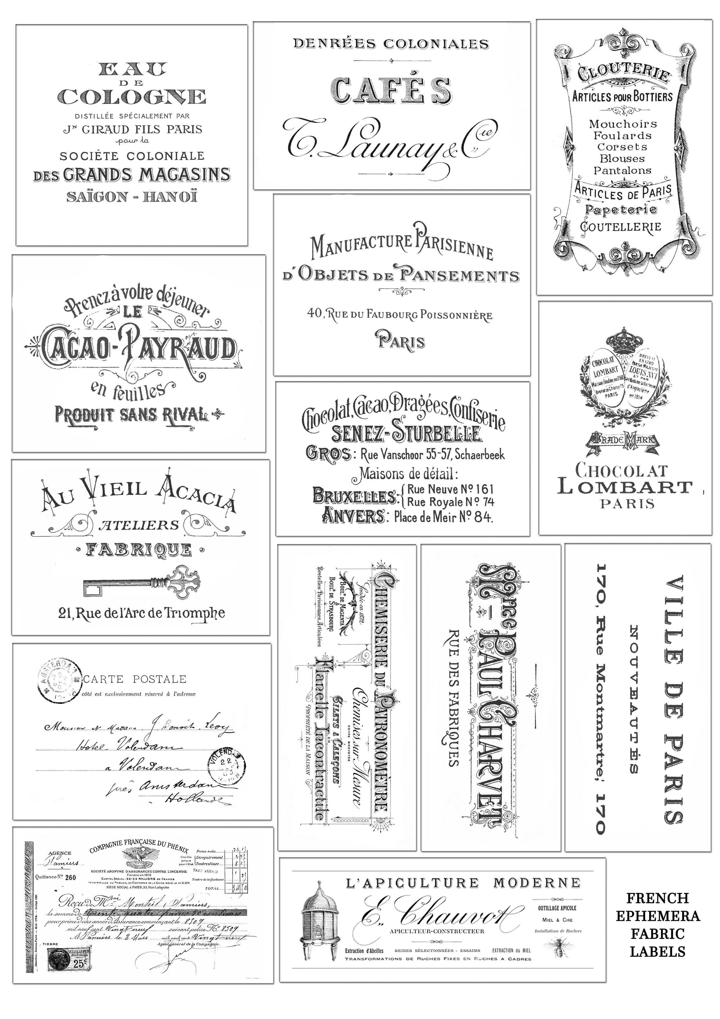 French Ephemera Fabric Labels Or Tags