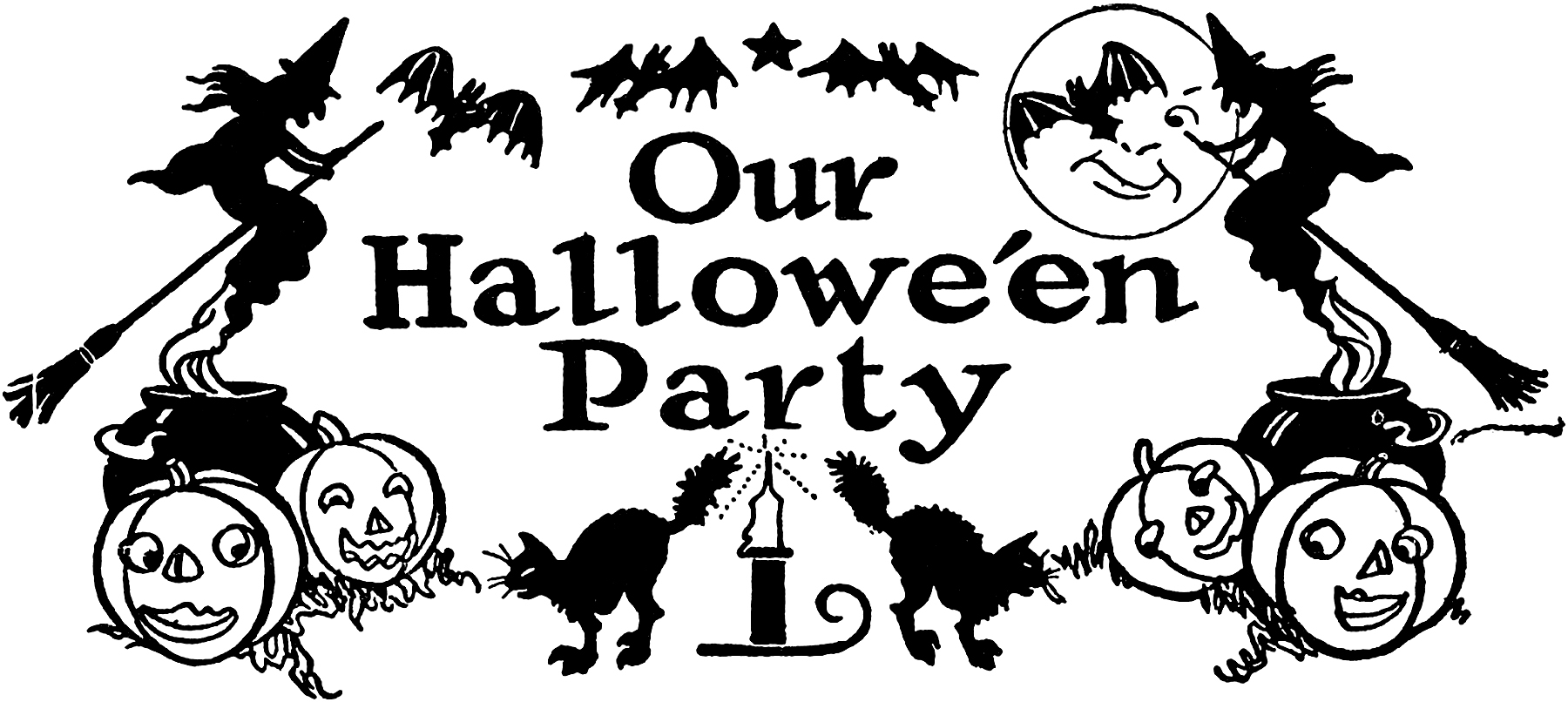 hight resolution of today i m sharing this nostalgic black and white halloween clip art this retro halloween party clip art has witches bats jack o lanterns black cats