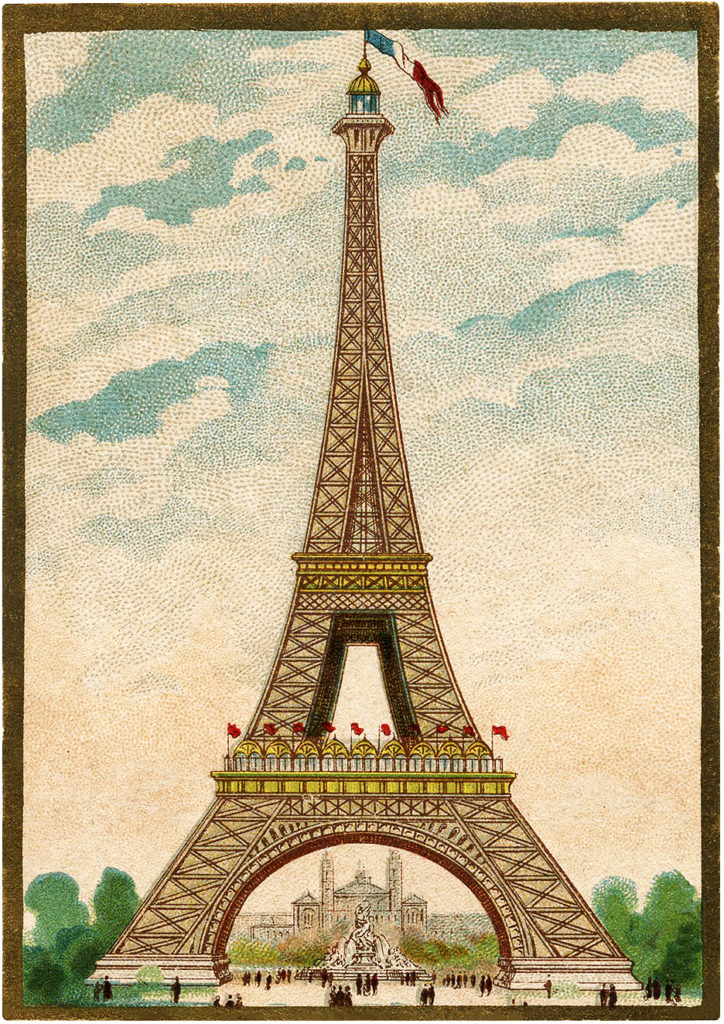 Fantastic Colorful Vintage Eiffel Tower Image The