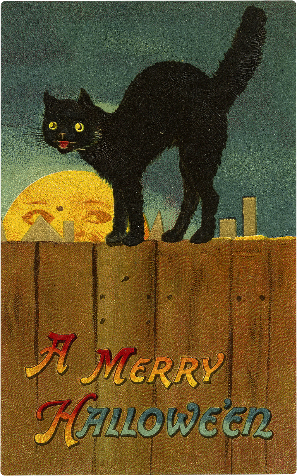 Retro Scary Black Cat On Fence Halloween Image The