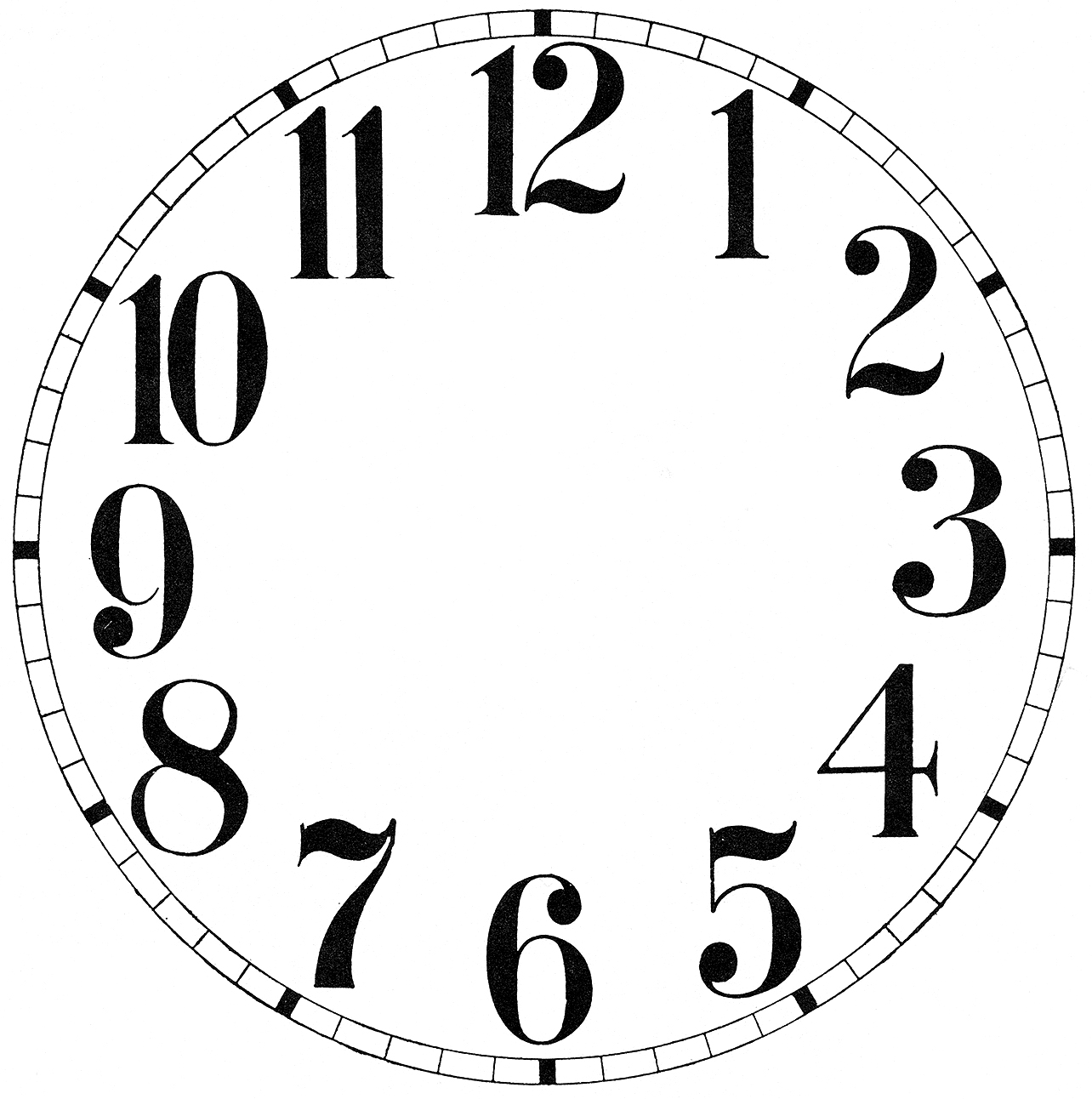 Antique Clock Face Template Printable