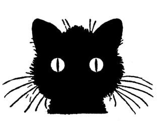 cat halloween clipart silhouette head cats cute retro graphics draw clip eyes moon super